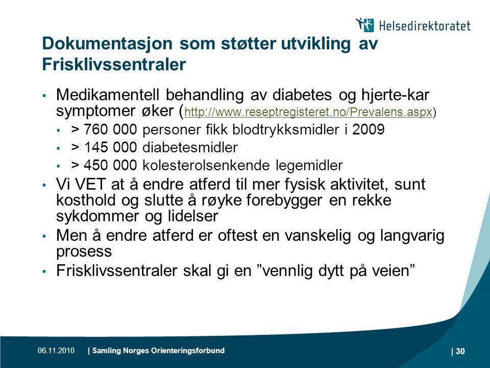 06.11.2010| Samling Norges Orienteringsforbund | 30 Dokumentasjon som støtter utvikling av Frisklivssentraler • Medikamentell behandling av diabetes o