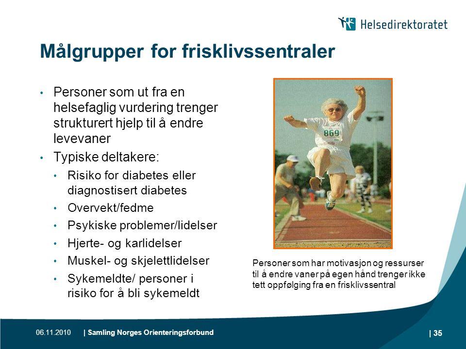 06.11.2010| Samling Norges Orienteringsforbund | 35 Målgrupper for frisklivssentraler • Personer som ut fra en helsefaglig vurdering trenger strukture