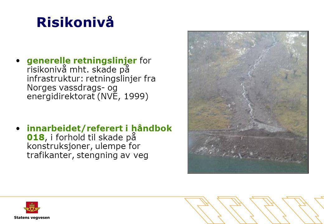 Risikonivå •generelle retningslinjer for risikonivå mht. skade på infrastruktur: retningslinjer fra Norges vassdrags- og energidirektorat (NVE, 1999)