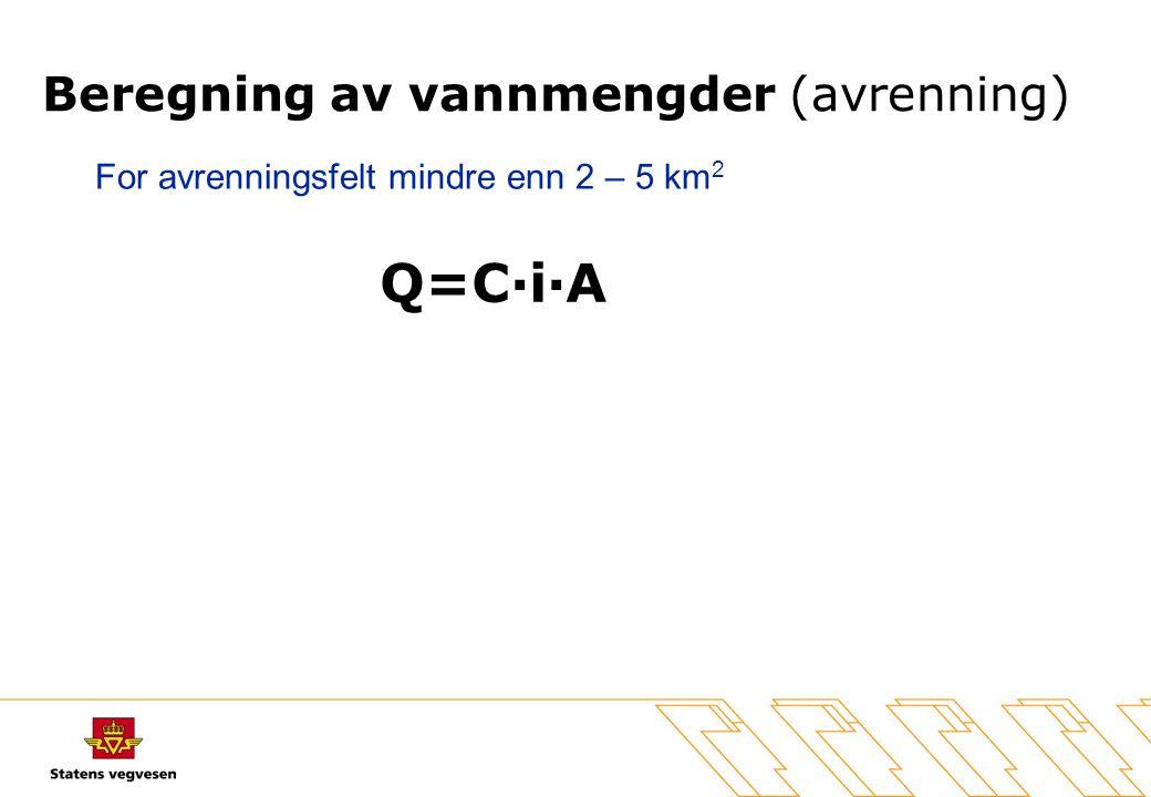 Beregning av vannmengder (avrenning) Q=C·i·A For avrenningsfelt mindre enn 2 – 5 km 2