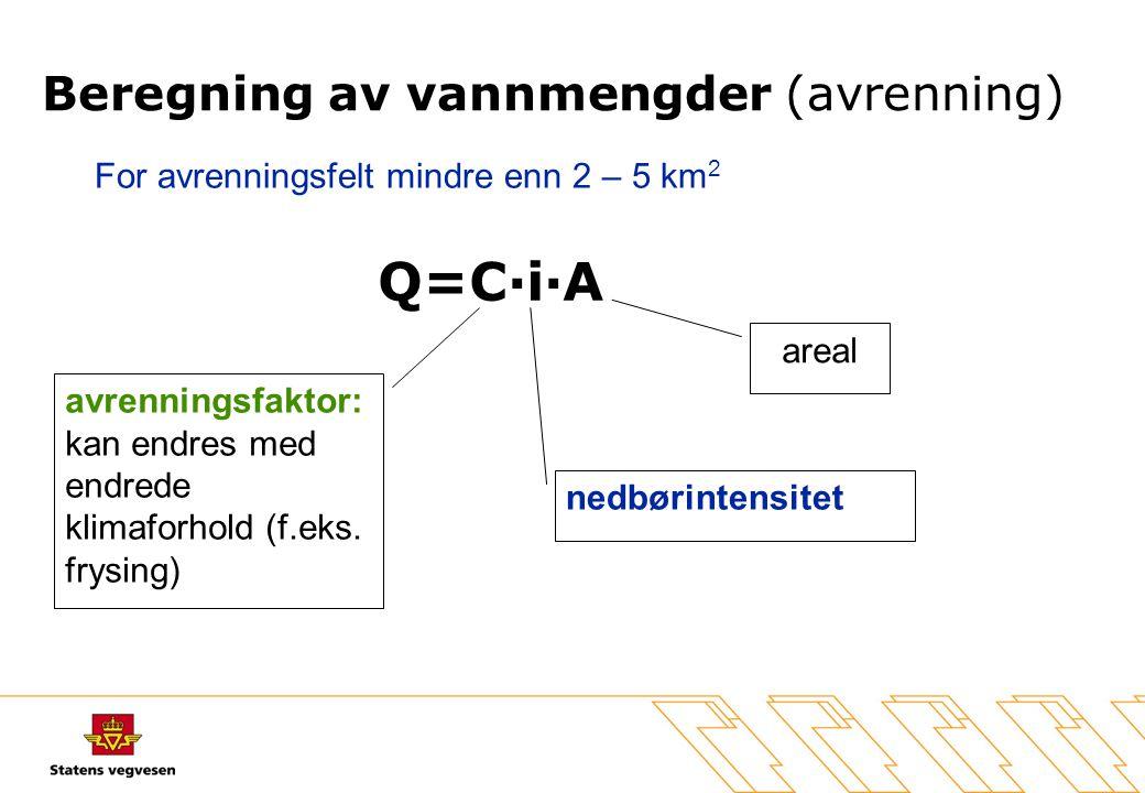 Q=C·i·A avrenningsfaktor: kan endres med endrede klimaforhold (f.eks. frysing) nedbørintensitet areal Beregning av vannmengder (avrenning) For avrenni