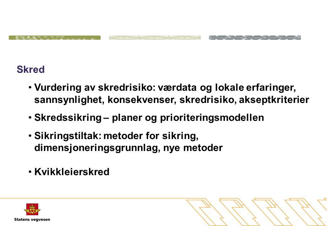Arbeidsemner 1.Litteraturstudie – definere utgangspunktet 2.Data innsamling, behandling og lagring 3.Flom- og erosjonssikring 4.Skred – snø-, jord, flomskred, steinsprang 5.Beredskap 6.Konsekvenser for vinterdrift 7.Bæreevne på svake veger 8.Sårbarhet