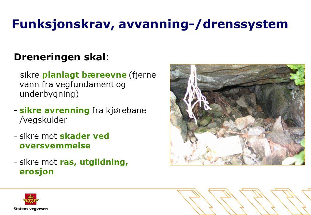 Funksjonskrav, avvanning-/drenssystem Dreneringen skal: - sikre planlagt bæreevne (fjerne vann fra vegfundament og underbygning) -sikre avrenning fra