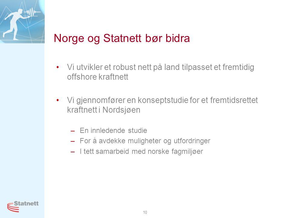 10 Norge og Statnett bør bidra •Vi utvikler et robust nett på land tilpasset et fremtidig offshore kraftnett •Vi gjennomfører en konseptstudie for et
