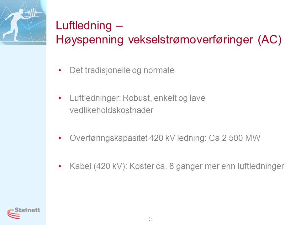 31 Luftledning – Høyspenning vekselstrømoverføringer (AC) •Det tradisjonelle og normale •Luftledninger: Robust, enkelt og lave vedlikeholdskostnader •