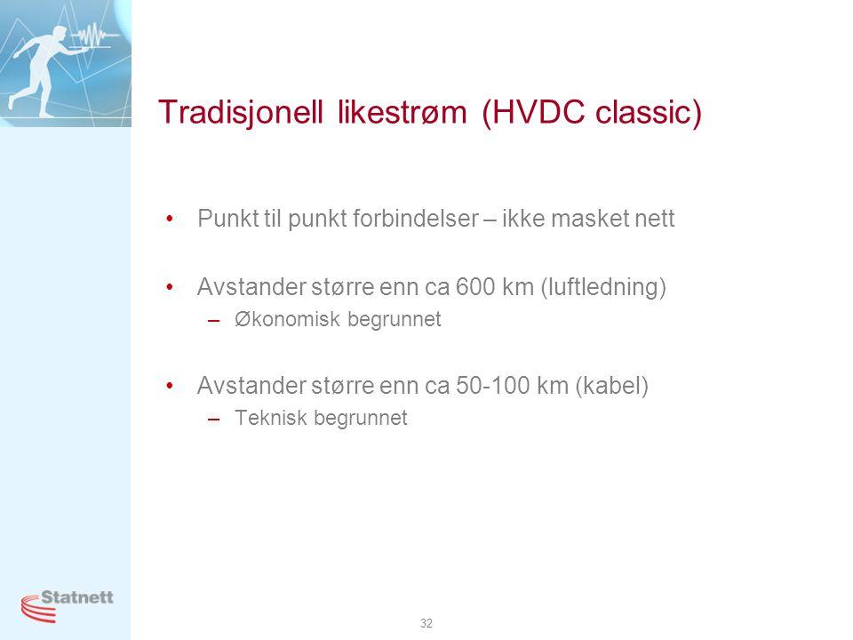 32 Tradisjonell likestrøm (HVDC classic) •Punkt til punkt forbindelser – ikke masket nett •Avstander større enn ca 600 km (luftledning) –Økonomisk beg