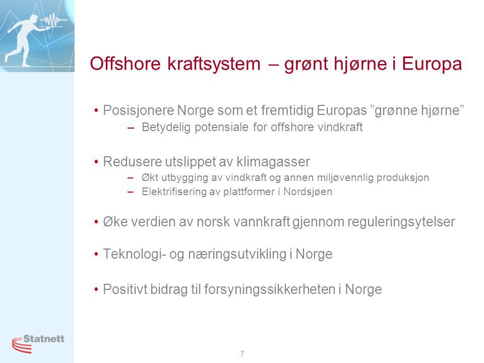 "7 Offshore kraftsystem – grønt hjørne i Europa •Posisjonere Norge som et fremtidig Europas ""grønne hjørne"" –Betydelig potensiale for offshore vindkraf"