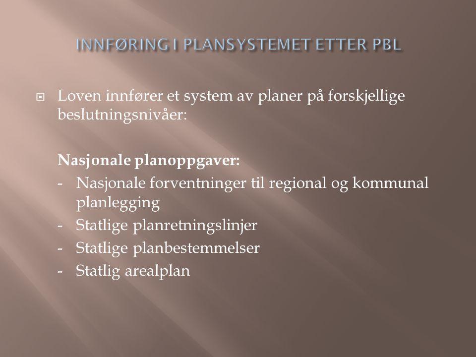  Loven innfører et system av planer på forskjellige beslutningsnivåer: Nasjonale planoppgaver: -Nasjonale forventninger til regional og kommunal planlegging -Statlige planretningslinjer -Statlige planbestemmelser -Statlig arealplan