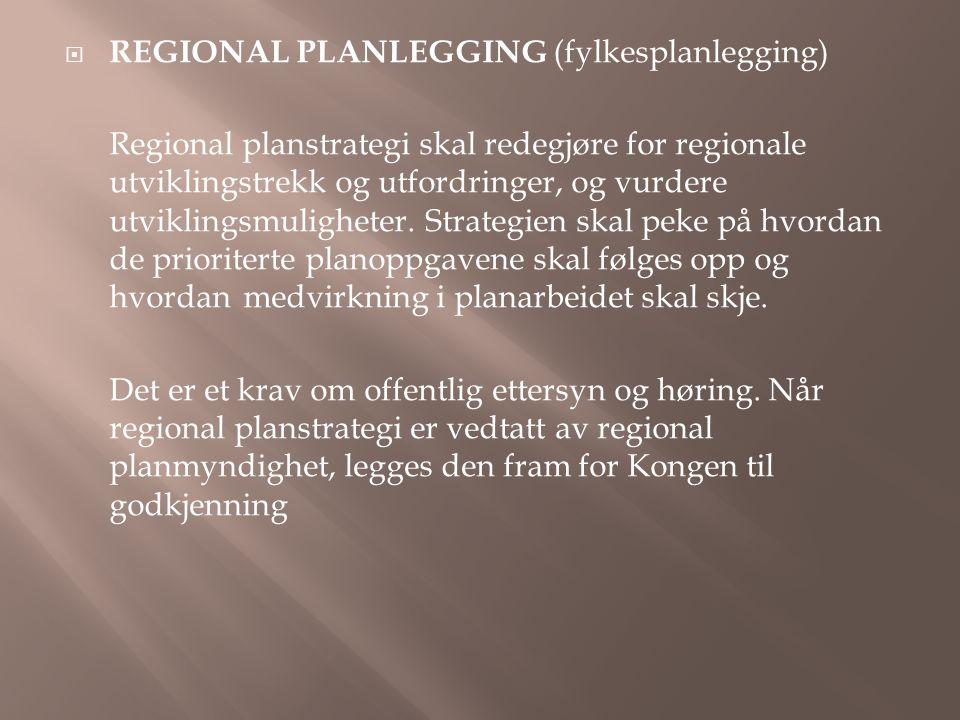  REGIONAL PLANLEGGING (fylkesplanlegging) Regional planstrategi skal redegjøre for regionale utviklingstrekk og utfordringer, og vurdere utviklingsmuligheter.