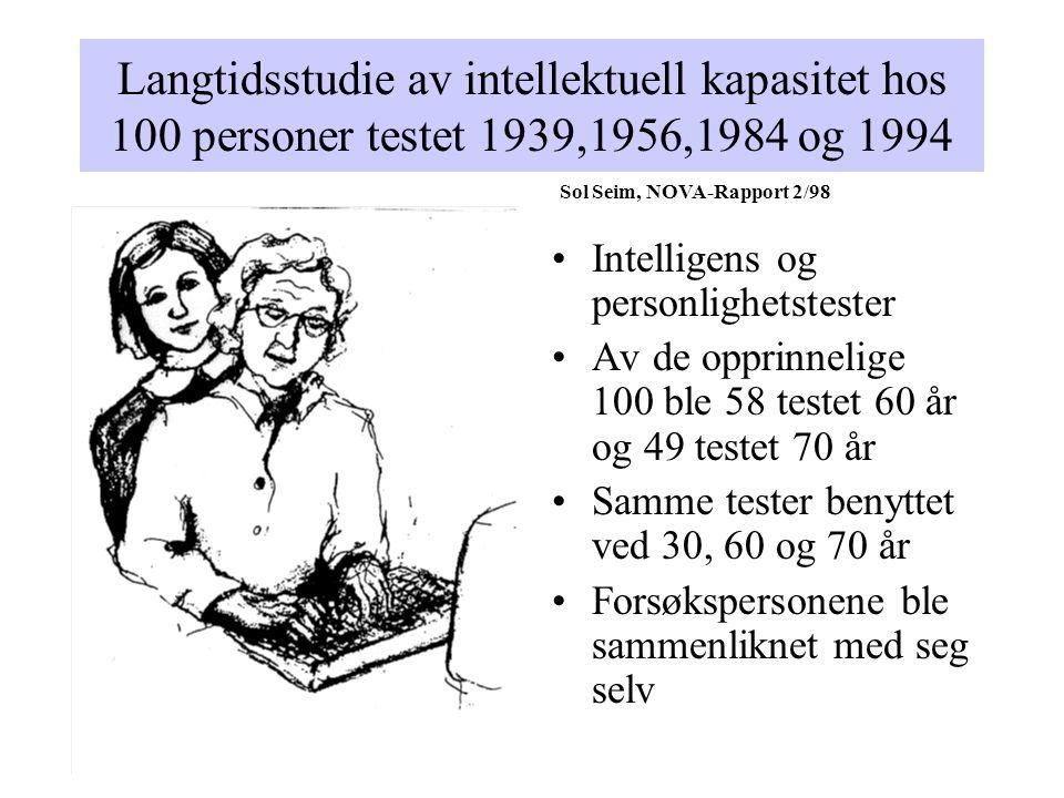 Langtidsstudie av intellektuell kapasitet hos 100 personer testet 1939,1956,1984 og 1994 •Intelligens og personlighetstester •Av de opprinnelige 100 b