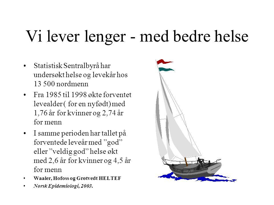 Vi lever lenger - med bedre helse •Statistisk Sentralbyrå har undersøkt helse og levekår hos 13 500 nordmenn •Fra 1985 til 1998 økte forventet leveald