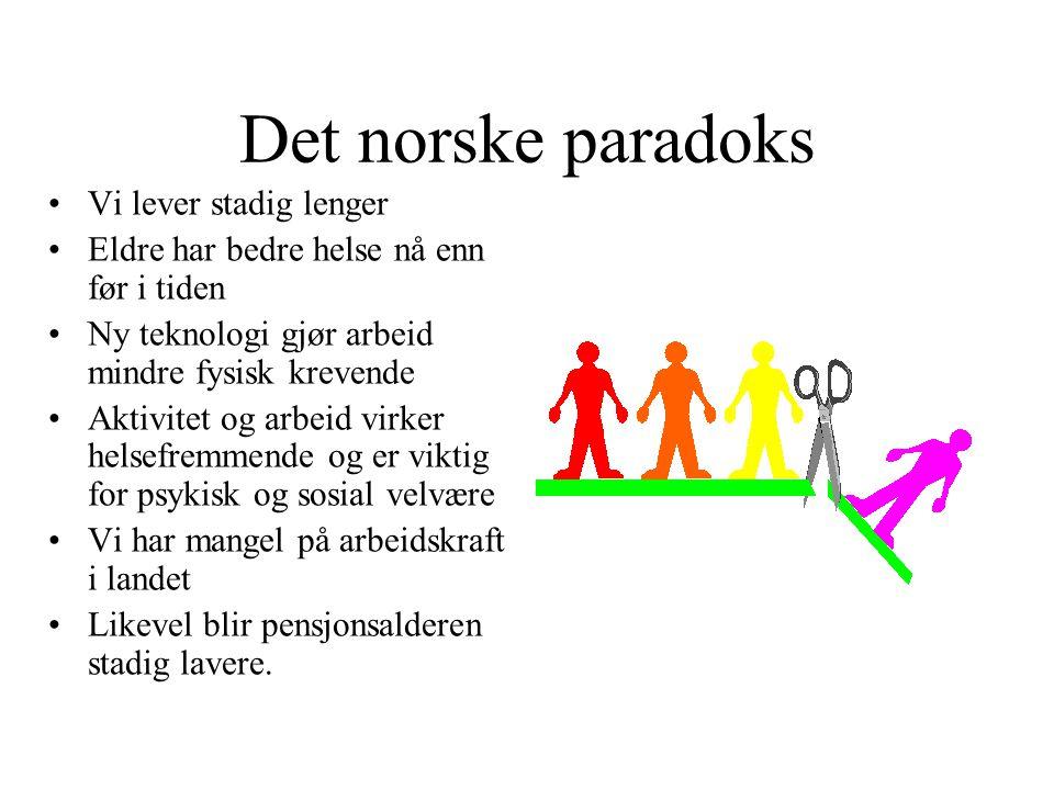 Det norske paradoks •Vi lever stadig lenger •Eldre har bedre helse nå enn før i tiden •Ny teknologi gjør arbeid mindre fysisk krevende •Aktivitet og a