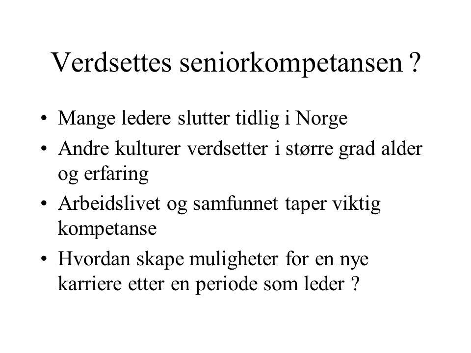 Verdsettes seniorkompetansen ? •Mange ledere slutter tidlig i Norge •Andre kulturer verdsetter i større grad alder og erfaring •Arbeidslivet og samfun