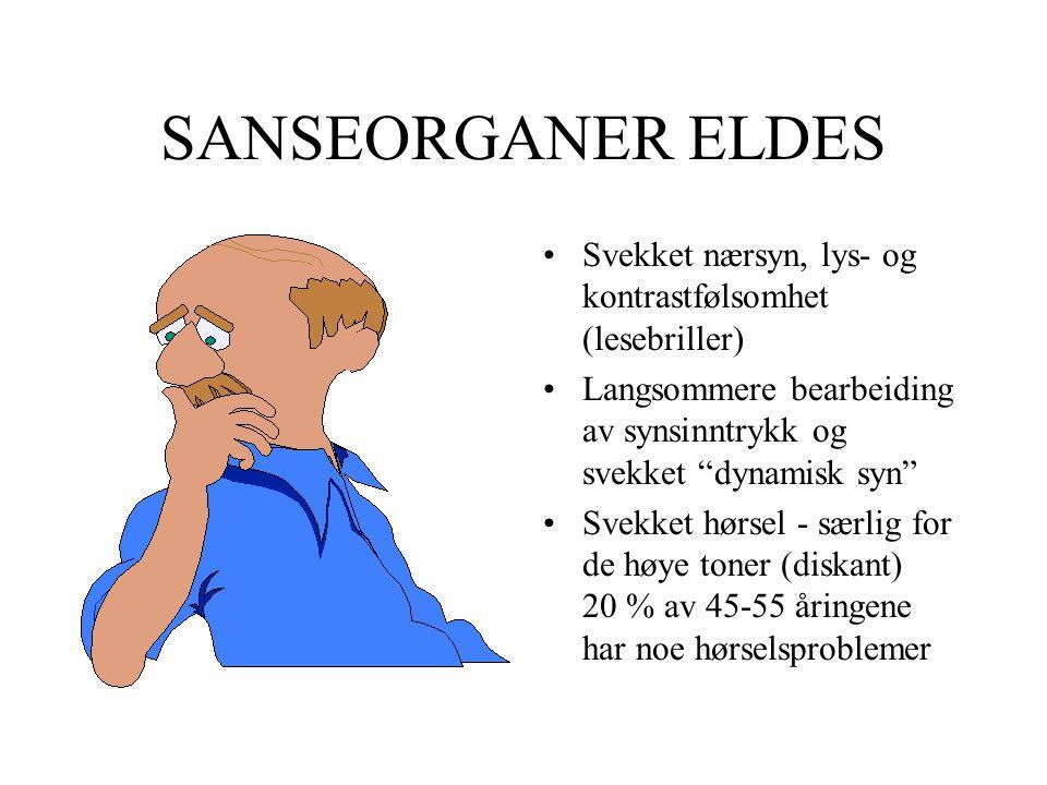 """SANSEORGANER ELDES •Svekket nærsyn, lys- og kontrastfølsomhet (lesebriller) •Langsommere bearbeiding av synsinntrykk og svekket """"dynamisk syn"""" •Svekke"""