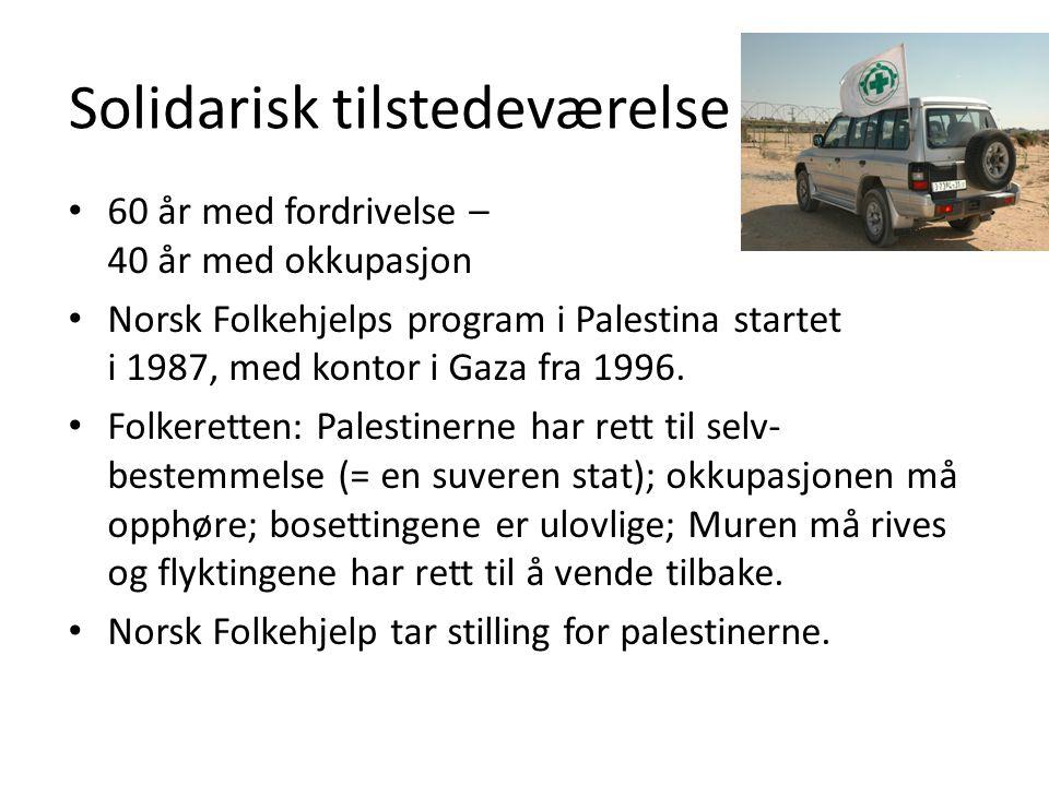 Solidarisk tilstedeværelse • 60 år med fordrivelse – 40 år med okkupasjon • Norsk Folkehjelps program i Palestina startet i 1987, med kontor i Gaza fra 1996.