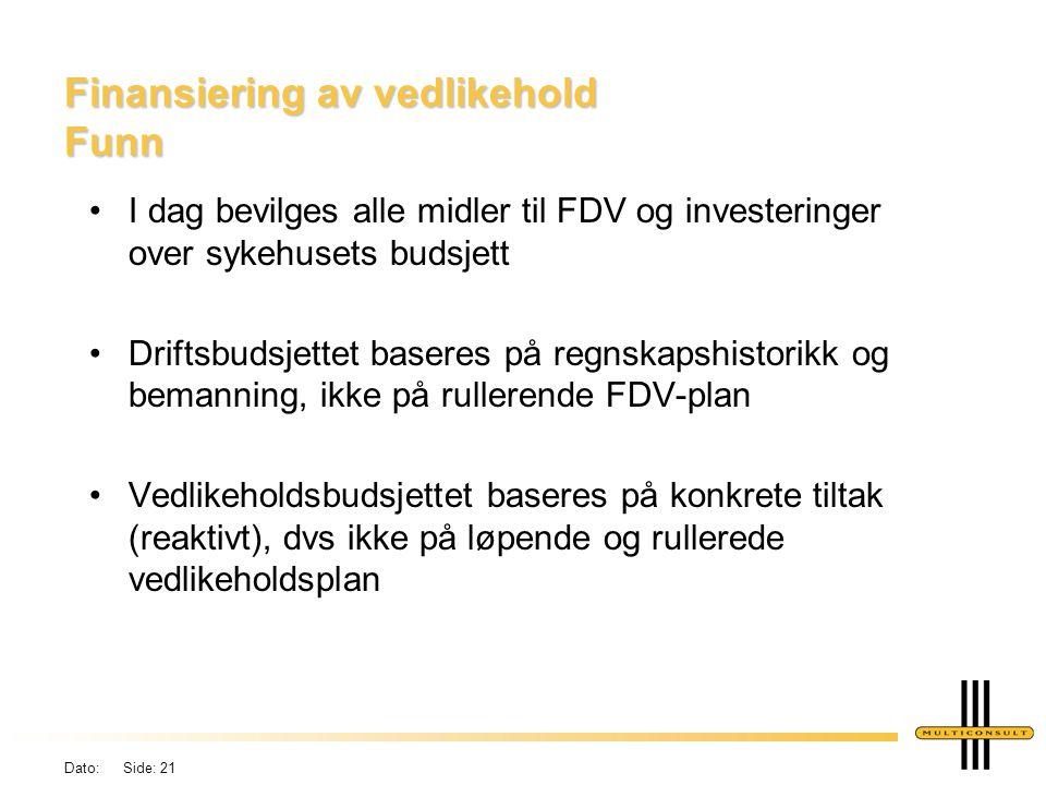 Dato: Side: 21 Finansiering av vedlikehold Funn •I dag bevilges alle midler til FDV og investeringer over sykehusets budsjett •Driftsbudsjettet basere