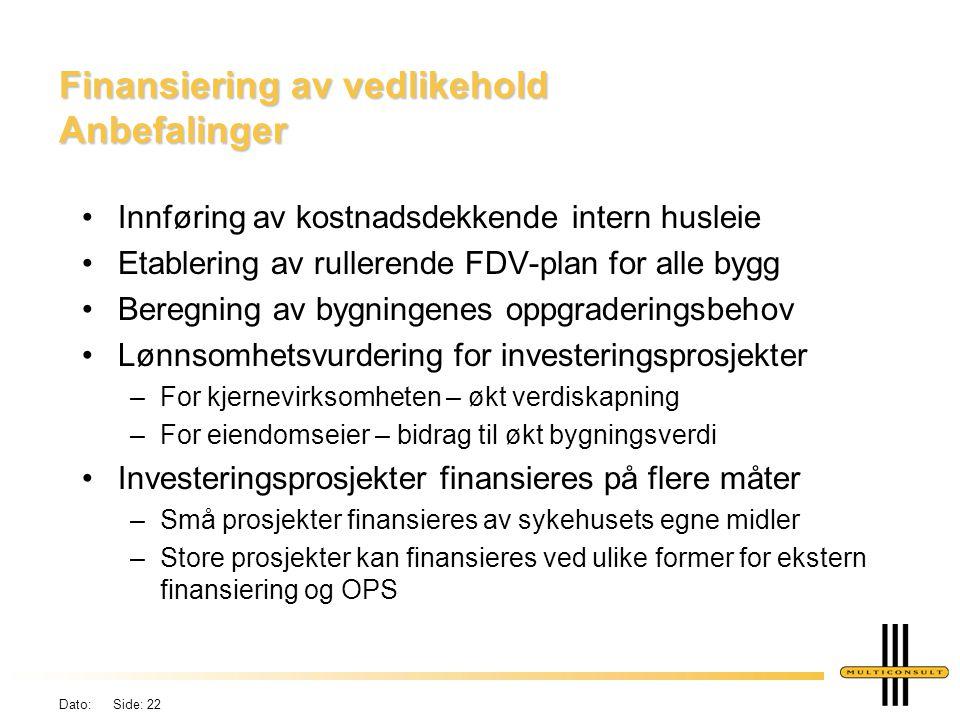 Dato: Side: 22 Finansiering av vedlikehold Anbefalinger •Innføring av kostnadsdekkende intern husleie •Etablering av rullerende FDV-plan for alle bygg
