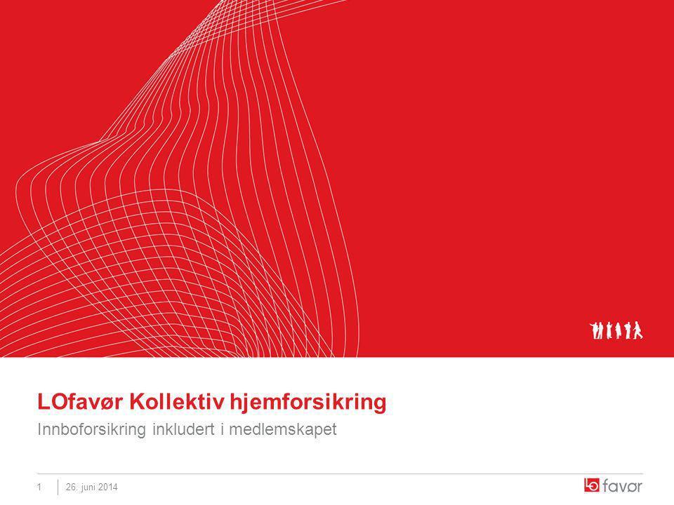 26. juni 20141 LOfavør Kollektiv hjemforsikring Innboforsikring inkludert i medlemskapet