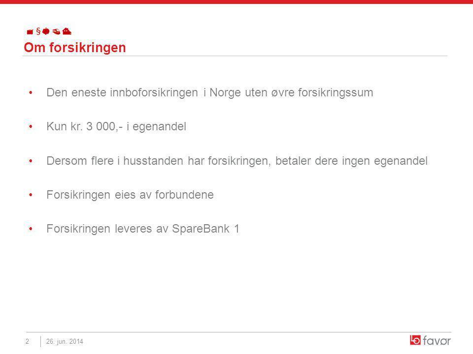 Om forsikringen •Den eneste innboforsikringen i Norge uten øvre forsikringssum •Kun kr.