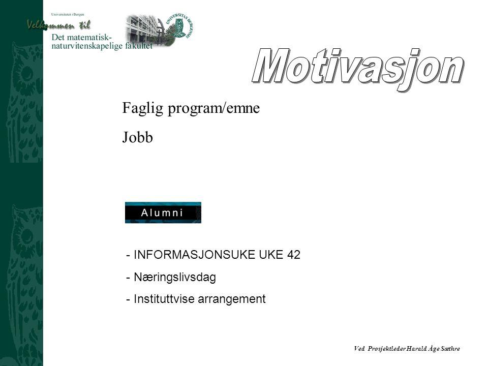 Ved Prosjektleder Harald Åge Sæthre - INFORMASJONSUKE UKE 42 - Næringslivsdag - Instituttvise arrangement Faglig program/emne Jobb