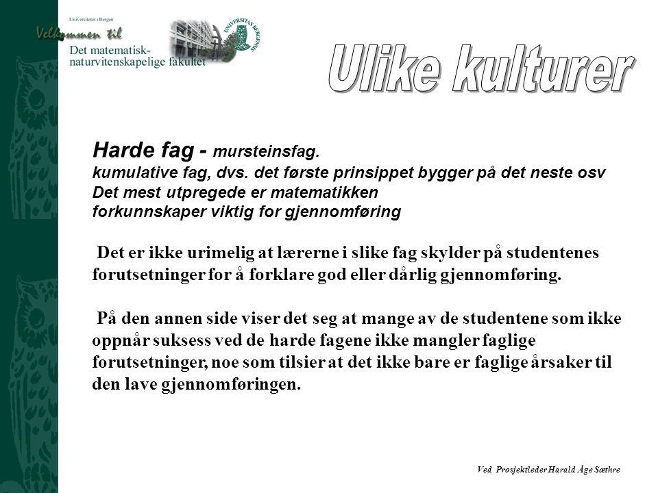 Ved Prosjektleder Harald Åge Sæthre Harde fag - mursteinsfag. kumulative fag, dvs. det første prinsippet bygger på det neste osv Det mest utpregede er