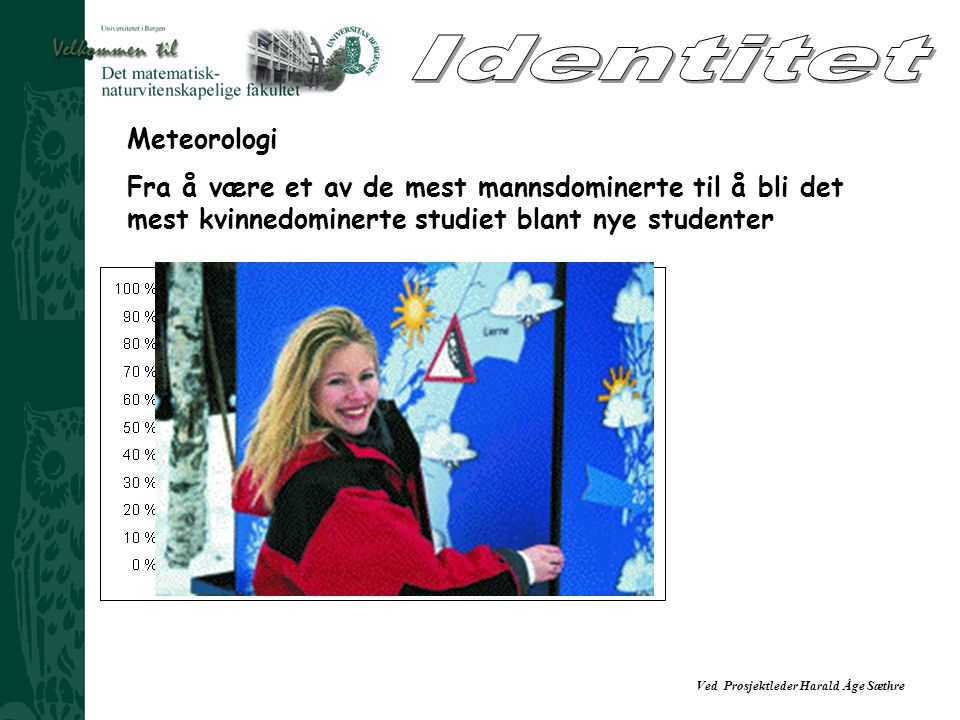 Ved Prosjektleder Harald Åge Sæthre Meteorologi Fra å være et av de mest mannsdominerte til å bli det mest kvinnedominerte studiet blant nye studenter