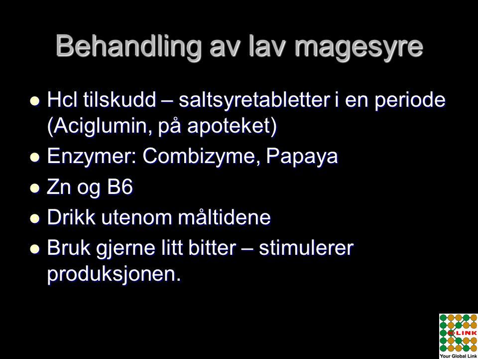 Behandling av lav magesyre  Hcl tilskudd – saltsyretabletter i en periode (Aciglumin, på apoteket)  Enzymer: Combizyme, Papaya  Zn og B6  Drikk ut