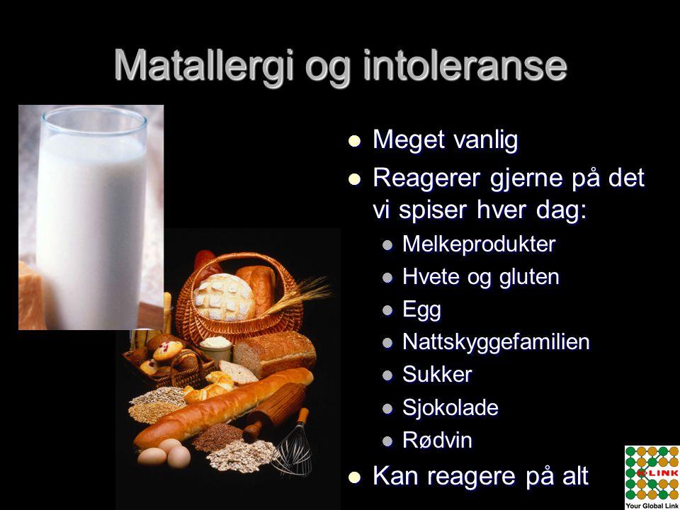 Matallergi og intoleranse  Meget vanlig  Reagerer gjerne på det vi spiser hver dag:  Melkeprodukter  Hvete og gluten  Egg  Nattskyggefamilien 