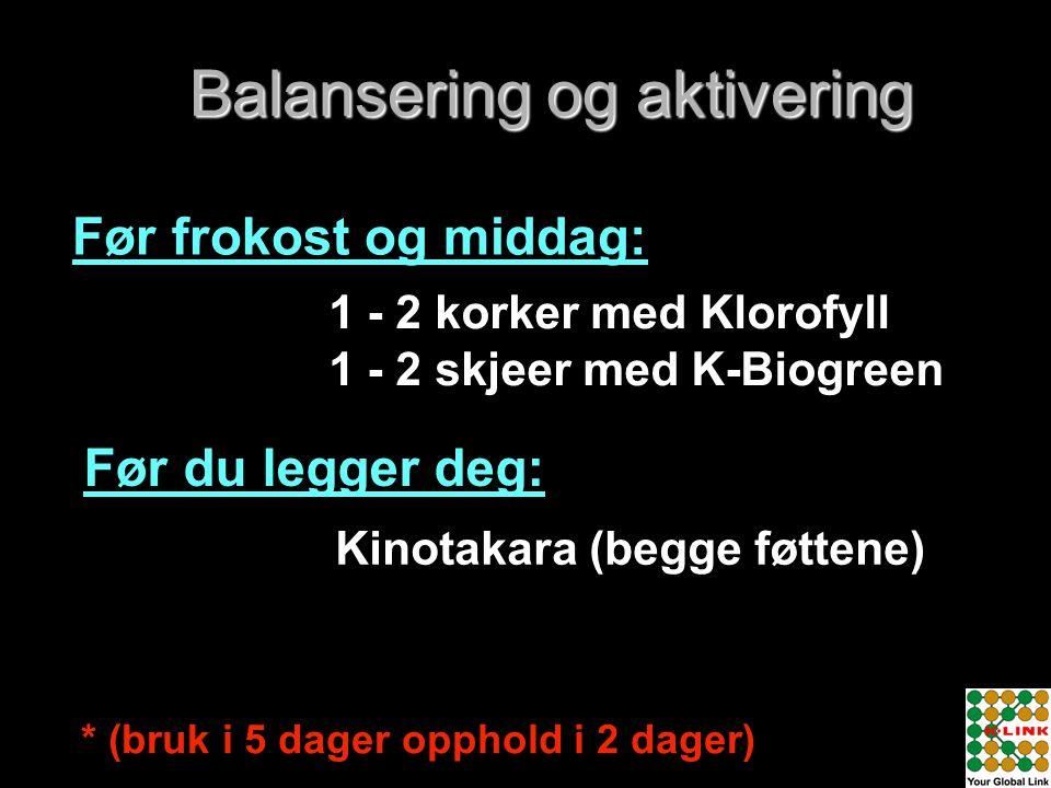 1 - 2 korker med Klorofyll 1 - 2 skjeer med K-Biogreen Kinotakara (begge føttene) * (bruk i 5 dager opphold i 2 dager) Balansering og aktivering Før f