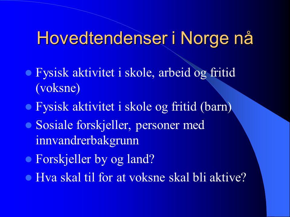 Hovedtendenser i Norge nå  Fysisk aktivitet i skole, arbeid og fritid (voksne)  Fysisk aktivitet i skole og fritid (barn)  Sosiale forskjeller, personer med innvandrerbakgrunn  Forskjeller by og land.