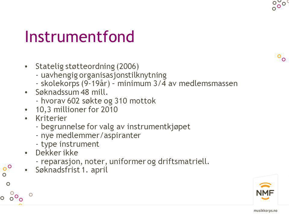 Instrumentfond • Statelig støtteordning (2006) - uavhengig organisasjonstilknytning - skolekorps (9-19år) – minimum 3/4 av medlemsmassen • Søknadssum