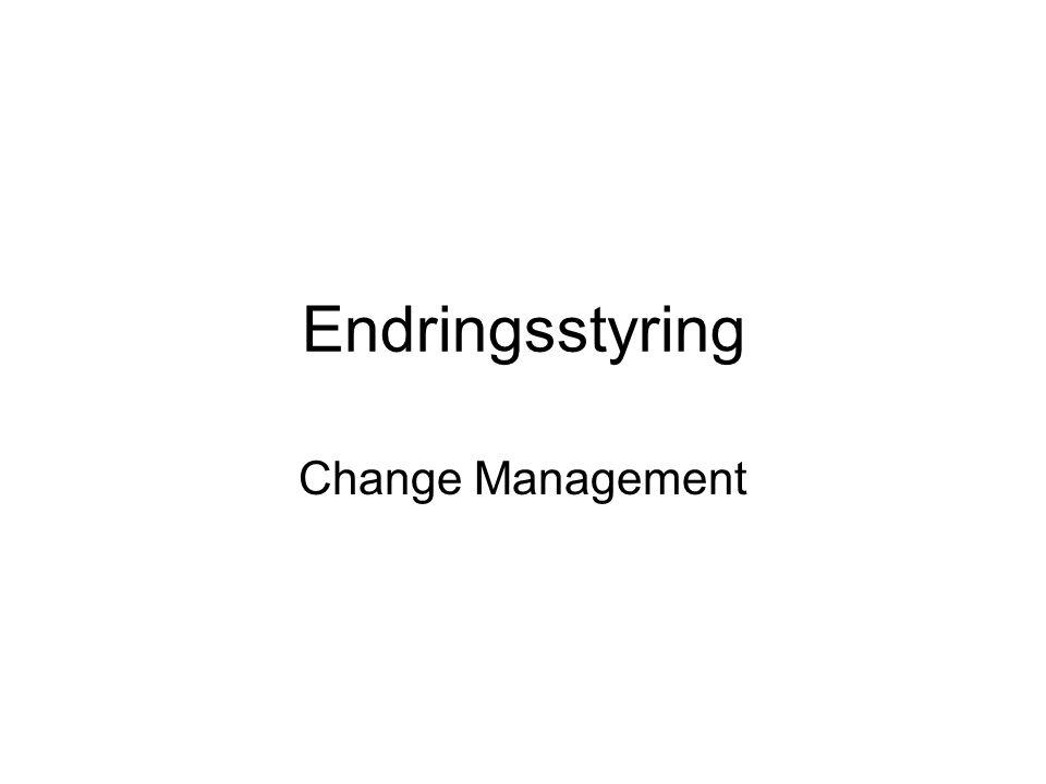 Formål •Endringsstyring har som formål å sikre at: –Standardiserte metoder og prosedyrer brukes for å håndtere endringer effektivt.