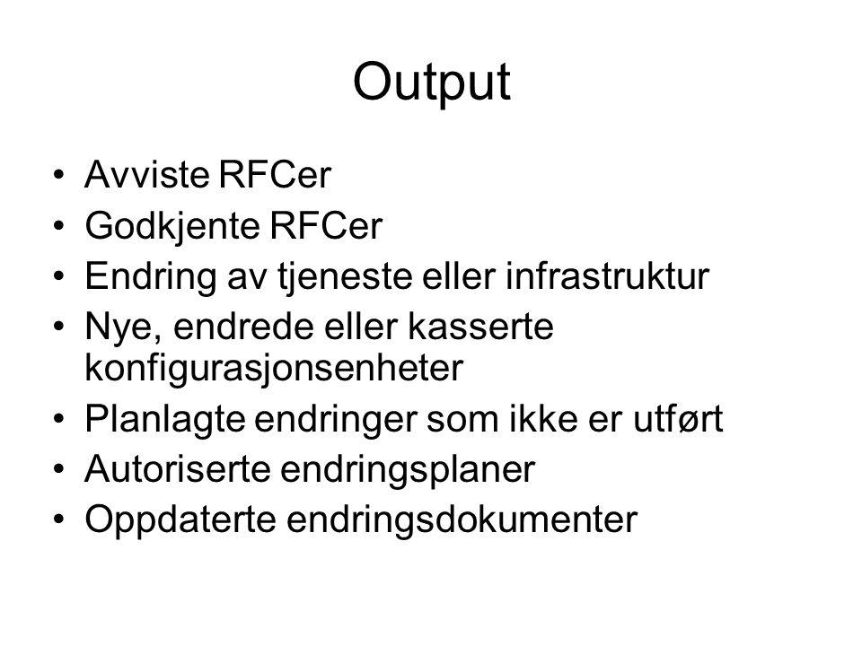 Output •Avviste RFCer •Godkjente RFCer •Endring av tjeneste eller infrastruktur •Nye, endrede eller kasserte konfigurasjonsenheter •Planlagte endringe