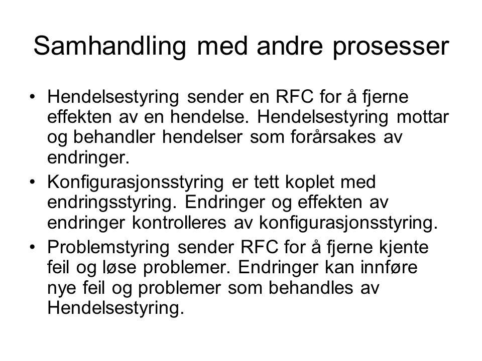 Samhandling med andre prosesser •Hendelsestyring sender en RFC for å fjerne effekten av en hendelse. Hendelsestyring mottar og behandler hendelser som
