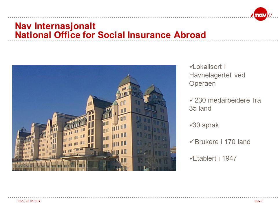 NAV, 26.06.2014Side 2 Nav Internasjonalt National Office for Social Insurance Abroad  Lokalisert i Havnelagertet ved Operaen  230 medarbeidere fra 3