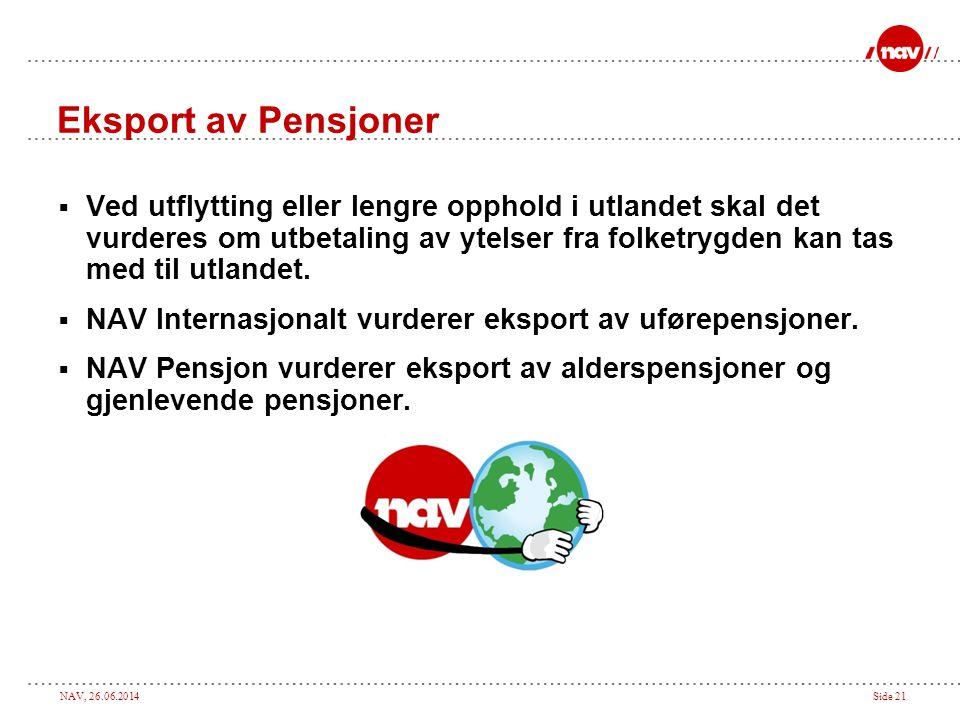 NAV, 26.06.2014Side 21 Eksport av Pensjoner  Ved utflytting eller lengre opphold i utlandet skal det vurderes om utbetaling av ytelser fra folketrygden kan tas med til utlandet.