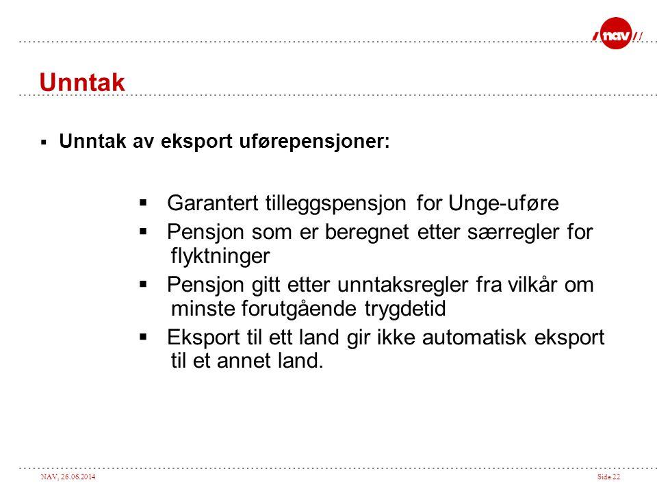 NAV, 26.06.2014Side 22 Unntak  Unntak av eksport uførepensjoner:  Garantert tilleggspensjon for Unge-uføre  Pensjon som er beregnet etter særregler