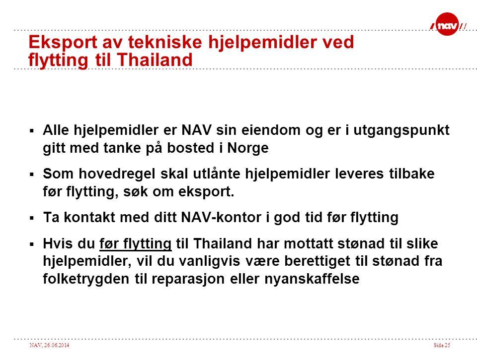 NAV, 26.06.2014Side 25 Eksport av tekniske hjelpemidler ved flytting til Thailand  Alle hjelpemidler er NAV sin eiendom og er i utgangspunkt gitt med