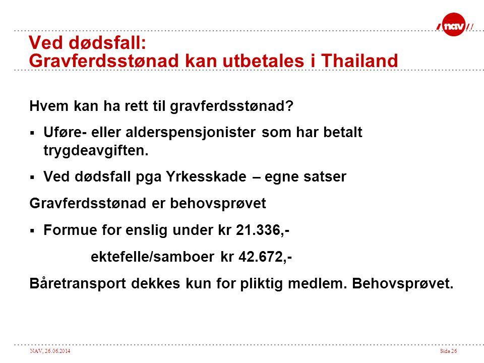 NAV, 26.06.2014Side 26 Ved dødsfall: Gravferdsstønad kan utbetales i Thailand Hvem kan ha rett til gravferdsstønad?  Uføre- eller alderspensjonister