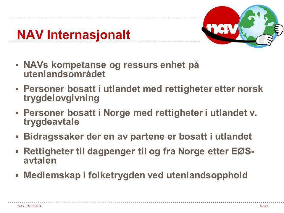 NAV, 26.06.2014Side 3 NAV Internasjonalt  NAVs kompetanse og ressurs enhet på utenlandsområdet  Personer bosatt i utlandet med rettigheter etter nor