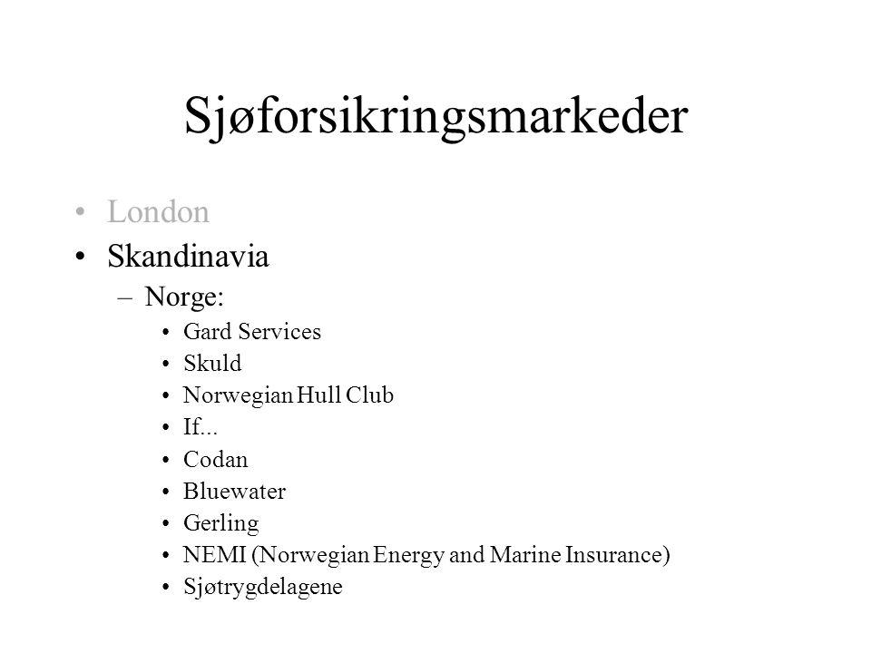 Sjøforsikringsmarkeder •London •Skandinavia –Norge: •Gard Services •Skuld •Norwegian Hull Club •If...