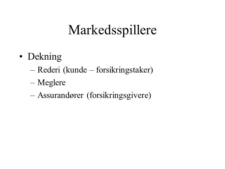 Markedsspillere •Dekning –Rederi (kunde – forsikringstaker) –Meglere –Assurandører (forsikringsgivere)