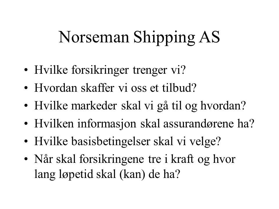 Norseman Shipping AS •Hvilke forsikringer trenger vi.