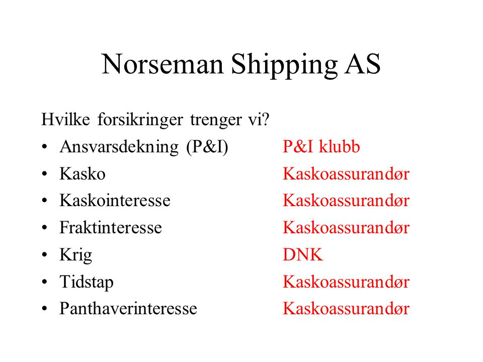 Norseman Shipping AS •Hvilke forsikringer trenger vi? •Hvordan skaffer vi oss et tilbud? •Hvilke markeder skal vi gå til og hvordan? •Hvilken informas