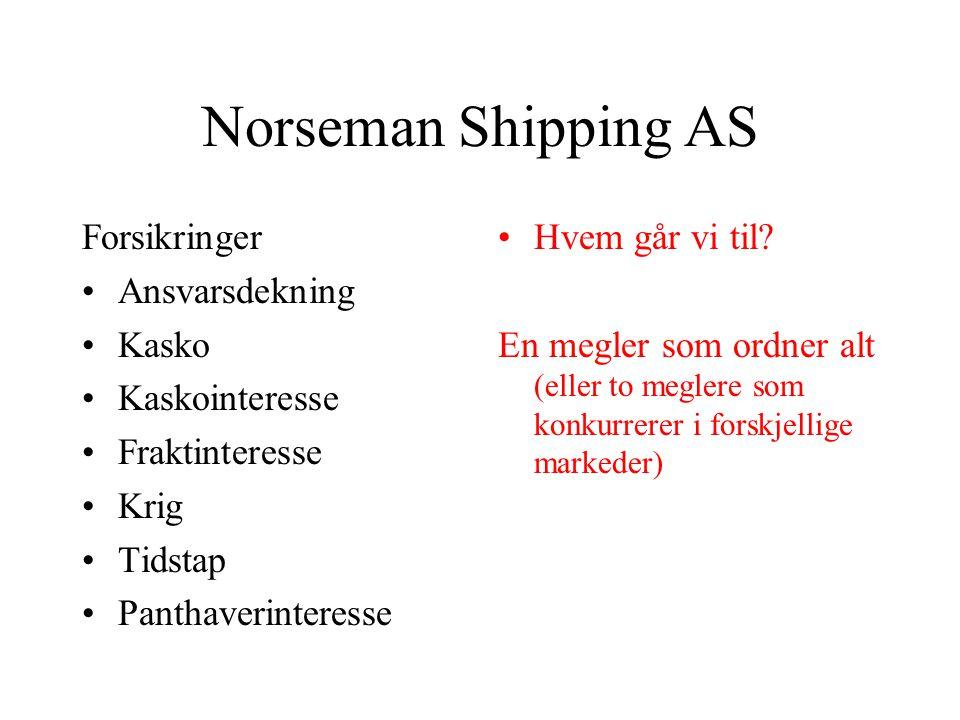 Norseman Shipping AS Forsikringer •Ansvarsdekning •Kasko •Kaskointeresse •Fraktinteresse •Krig •Tidstap •Panthaverinteresse •Hvem går vi til.