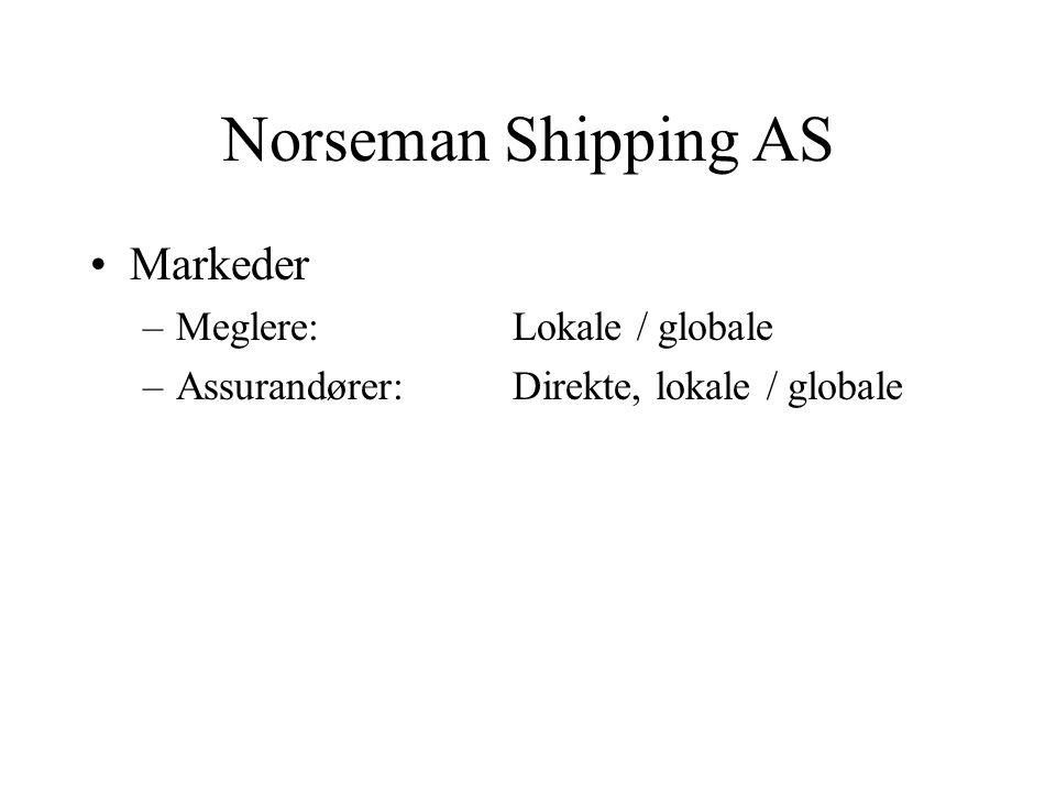 Norseman Shipping AS •Markeder –Meglere: Lokale / globale –Assurandører: Direkte, lokale / globale