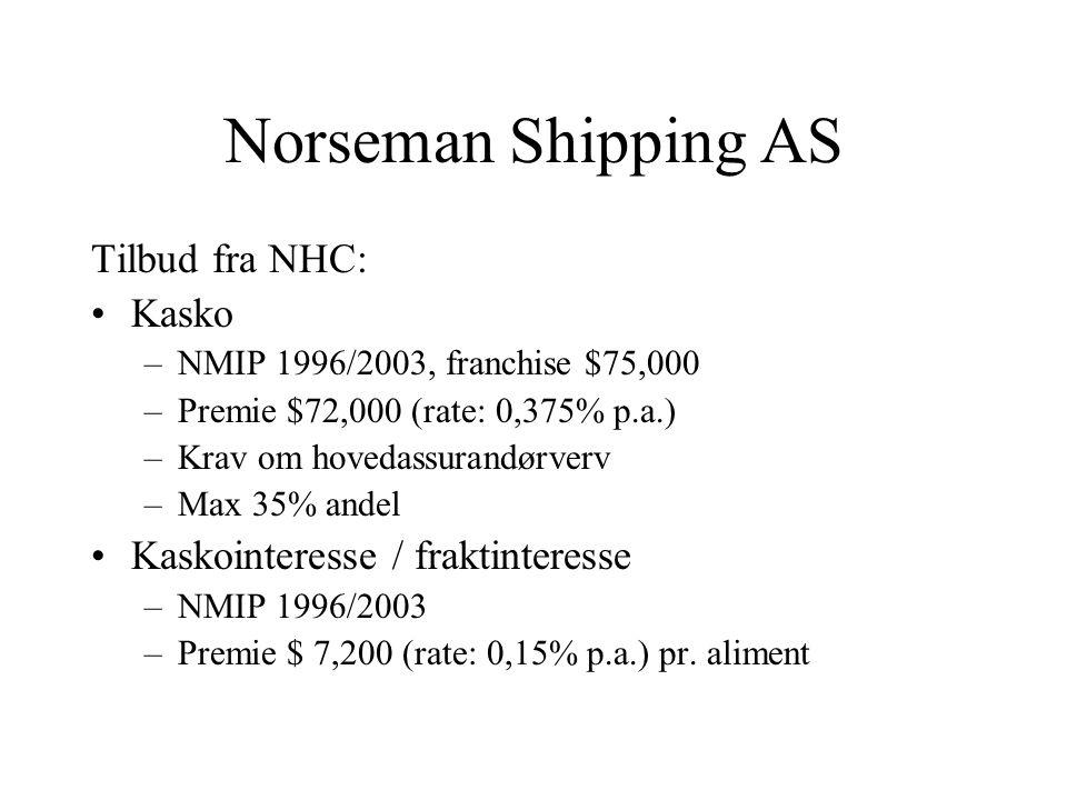 Norseman Shipping AS Tilbud fra NHC: •Kasko –NMIP 1996/2003, franchise $75,000 –Premie $72,000 (rate: 0,375% p.a.) –Krav om hovedassurandørverv –Max 35% andel •Kaskointeresse / fraktinteresse –NMIP 1996/2003 –Premie $ 7,200 (rate: 0,15% p.a.) pr.