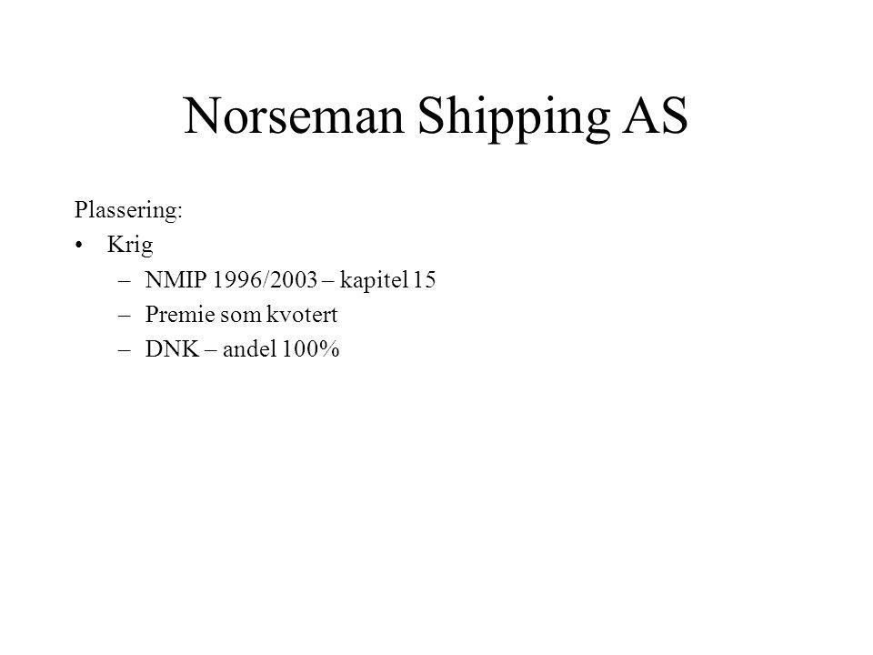 Norseman Shipping AS Plassering: •Kaskointeresse / fraktinteresse –NMIP 1996/2003 –Premie som kvotert av megler Smekk –Megler Smekk – andel 100% hvora