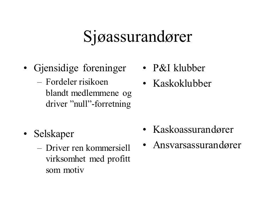 """Sjøassurandører •Gjensidige foreninger –Fordeler risikoen blandt medlemmene og driver """"null""""-forretning •P&I klubber •Kaskoklubber"""