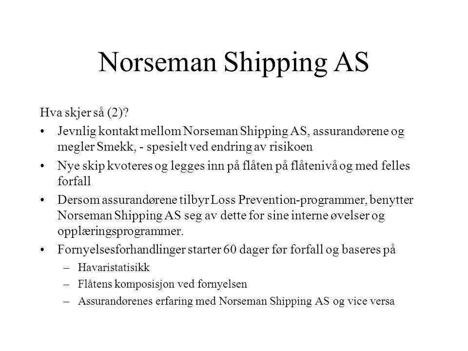 Norseman Shipping AS Hva skjer så (1)? •Dekningene bekreftes til panthaver •Poliser og debetnotaer (faktura) utstedes av NHC (kasko), Gard Services (t